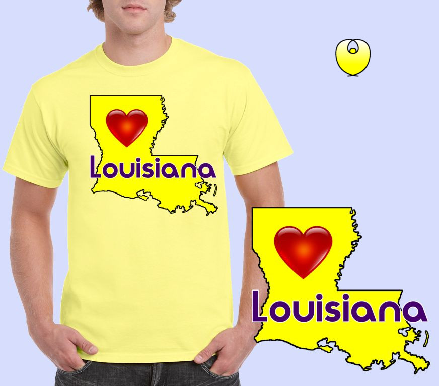 Louisiana Heart Yellow State – Gildan 5000 Corn Silk