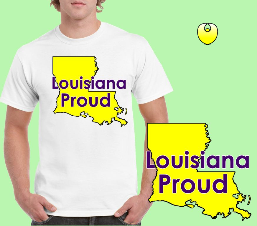 Louisiana Proud Yellow State – Gildan 5000 White
