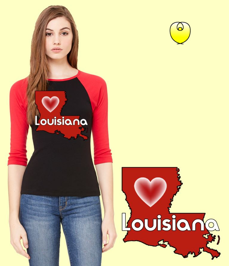 Louisiana Heart Vermillion State – Bella Baseball Black Red Sleeves