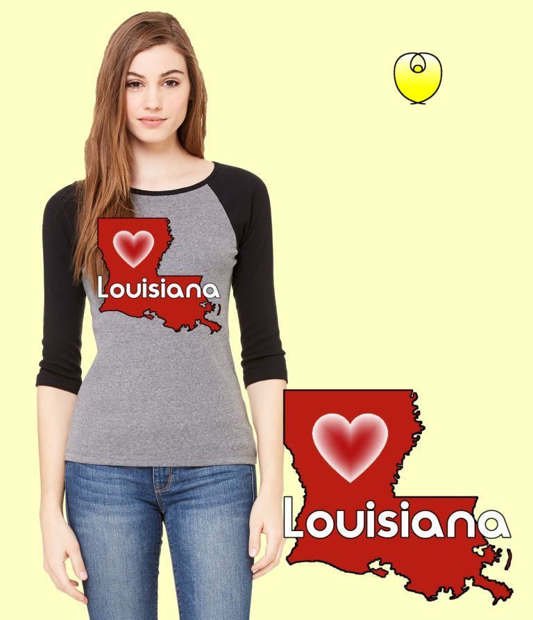 Louisiana Heart Vermillion State – Bella Baseball Gray Black Sleeves