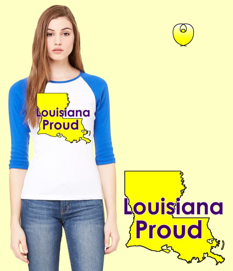 Louisiana Proud Yellow State – Bella Baseball White Blue Sleeves