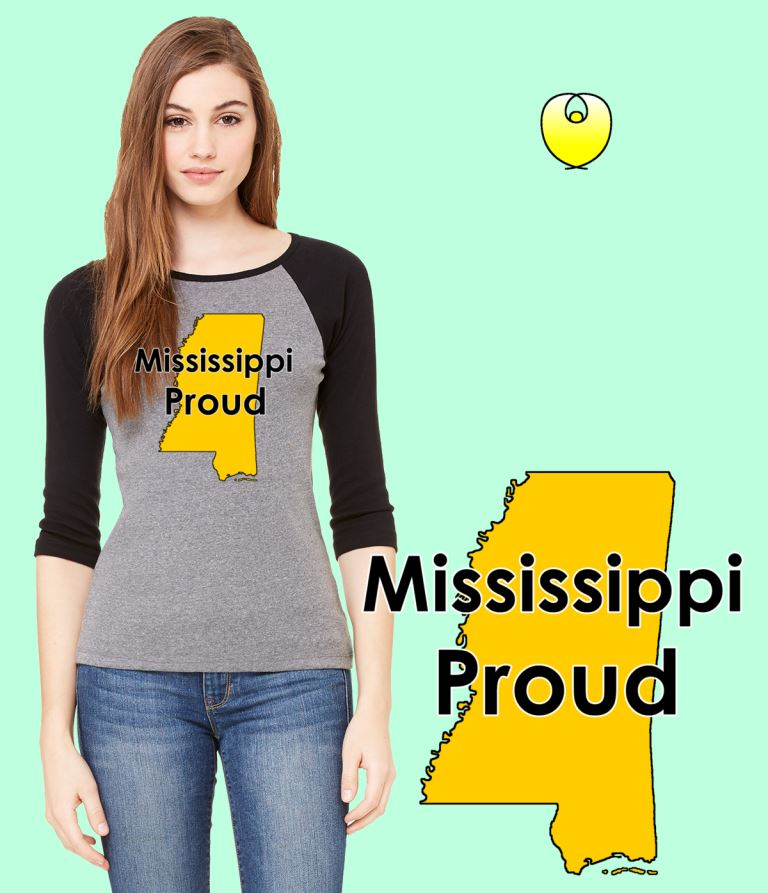 Mississippi Proud Yellow State – Bella Baseball Gray Black Sleeves