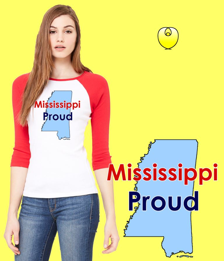 Mississippi Proud Baby Blue State – Bella Baseball White Red Sleeves