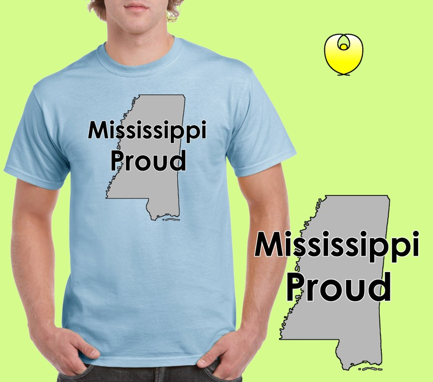Mississippi Proud Gray State – Gildan 5000 Light Blue
