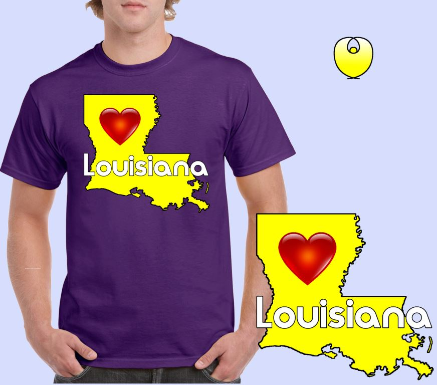 Louisiana Heart Yellow State – Gildan 5000 Purple