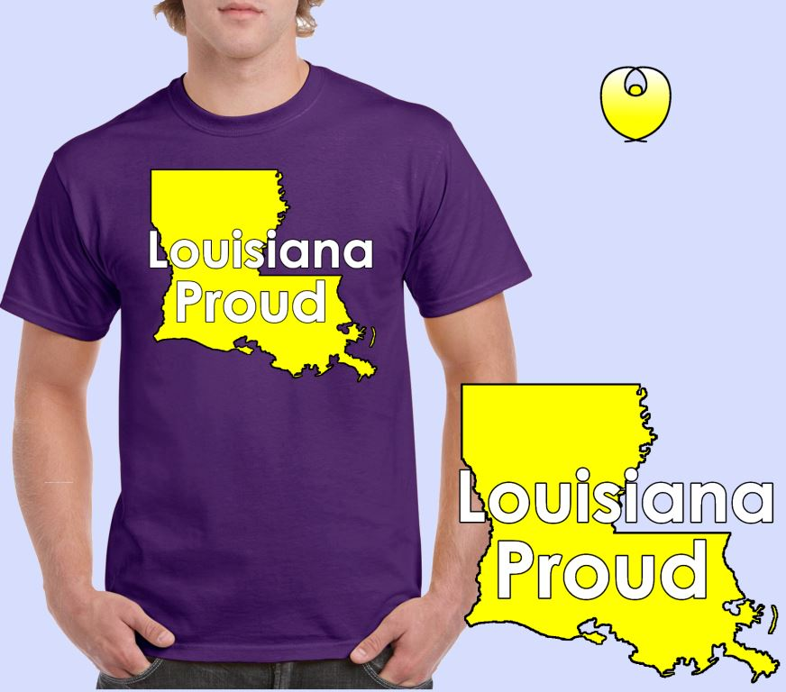 Louisiana Proud Yellow State – Gildan 5000 Purple