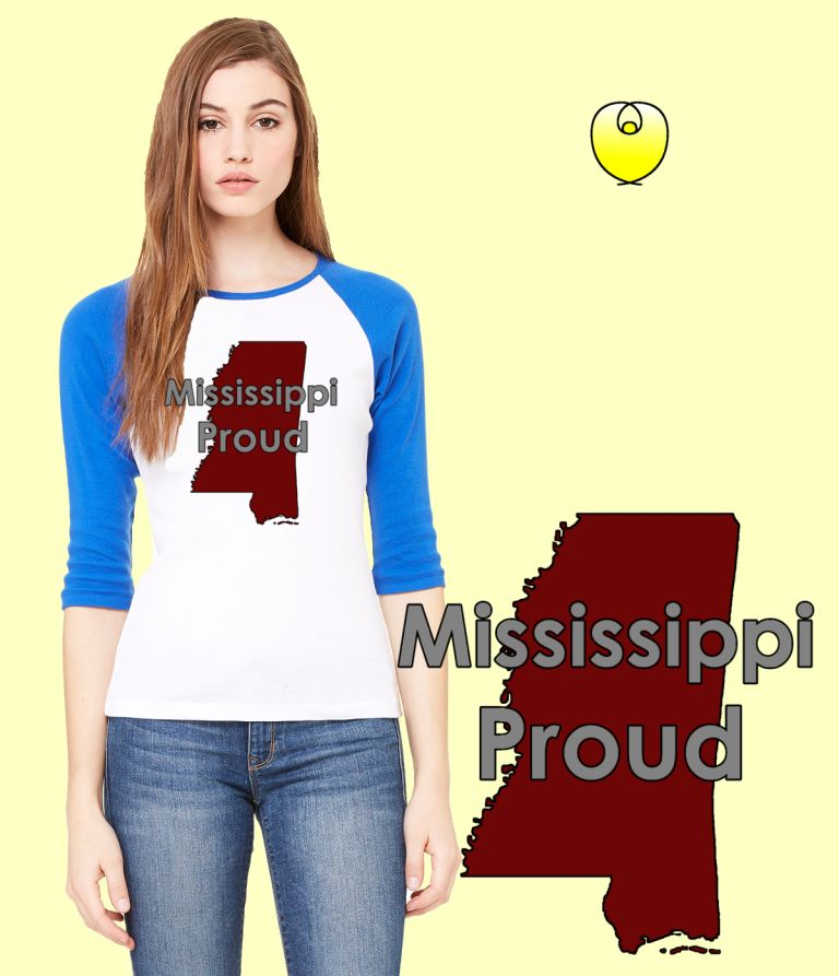 Mississippi Proud Maroon State – Bella Baseball White Blue Sleeves
