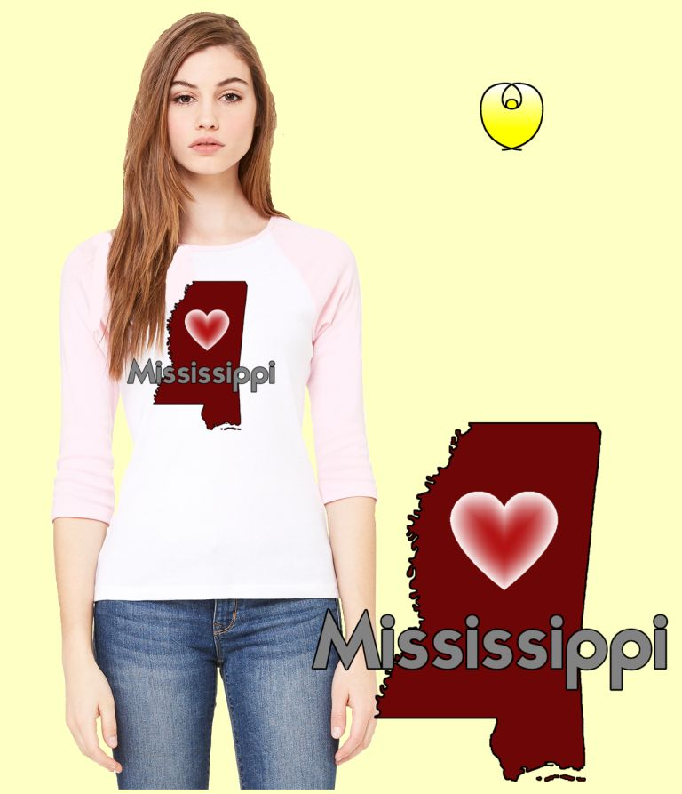Mississippi Heart Maroon State – Bella Baseball White Pink Sleeves