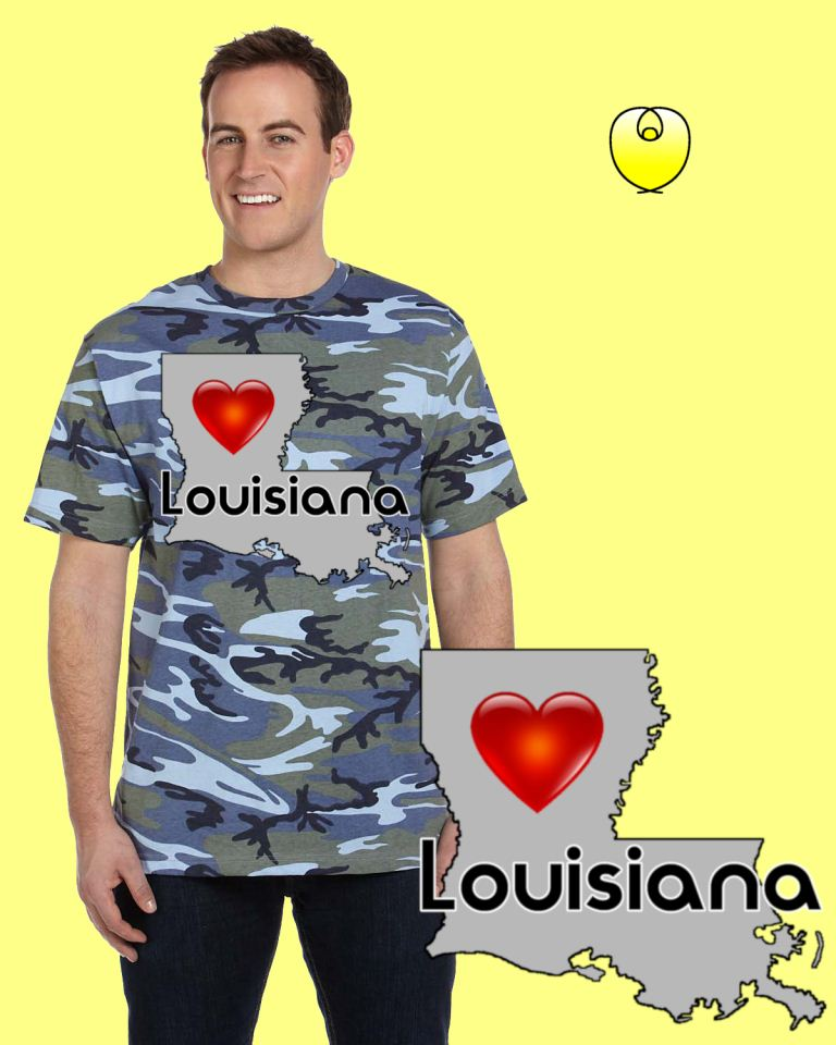Louisiana Heart Gray State – Code V 3906 Camo Blue Wood